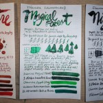 Diamine Shimmertastic – 3 Ink Review – Red Lustre, Magical Forest, Night Sky