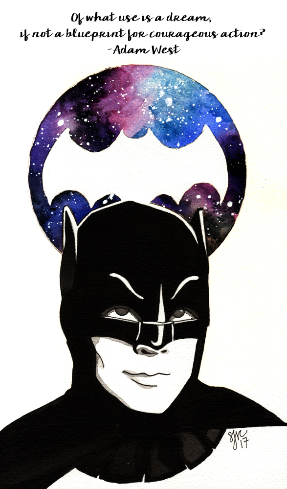 White gel pen sjane mills of what use is a dream if not a blueprint for courageous action adam west as bruce wayne paper fluid watercolor paper 300gsm cold press paint daniel malvernweather Choice Image